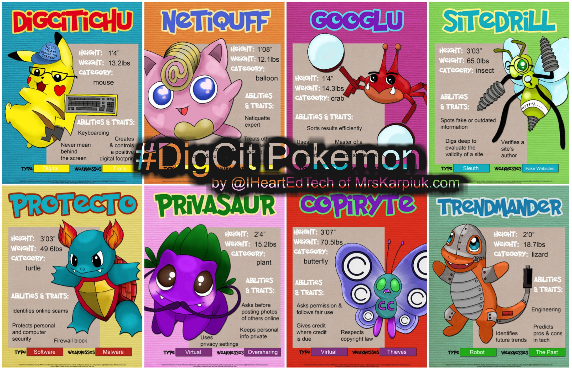i made some free pokémon inspired digital citizenship posters
