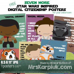 NEW Star Wars inspired digital citizenship posters by @IHeartEdTech at mrskarpiuk.com
